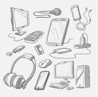 uppsättning handritade gadgetikoner