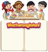 Rahmenschablonendesign mit glücklichen Kindern im Klassenzimmer