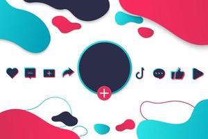 sociala medier modern designknappar och ui vektor