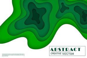 vågiga gröna skiktade pappersskurna former på vitt