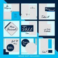 trendiga blå försäljning sociala medier postmallar vektor