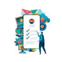 man fyller i formulär online på smartphone vektor