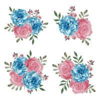 akvarell blommig bukett i blå rosa färg