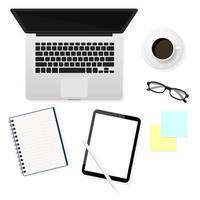 Draufsicht auf Schreibtischobjekte vektor