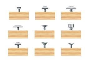 Nagelkopf auf Holz vektor