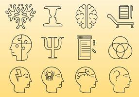 Psykologi linje ikoner vektor