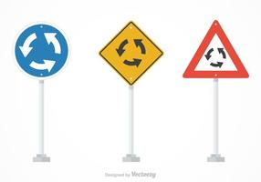 Gratis Vector Roundabout Trafikskyltar