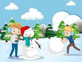 scen med barn som gör snögubbe i snöfältet vektor
