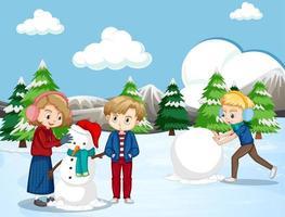glada barn som gör snögubbe vektor