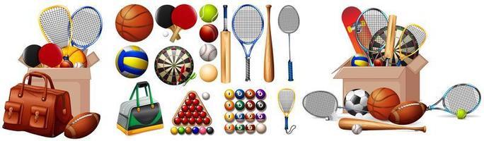 große Auswahl an Sportgeräten vektor