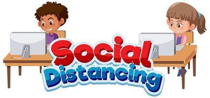 social distans med barn som arbetar isär vektor