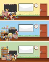 klassrum med leksaker och barnbakgrunder