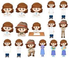 Satz Mädchen in verschiedenen Kostümen vektor
