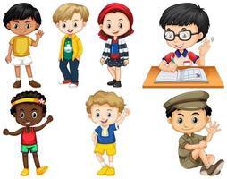uppsättning barn i olika poser