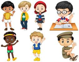 Satz Kinder in verschiedenen Posen vektor