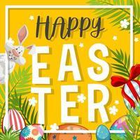Osterhintergrund mit weißem Hasen und gemalten Eiern