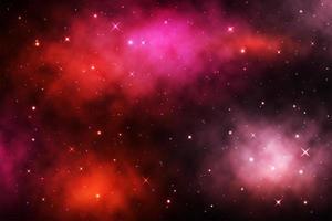 röd galaxbakgrund med lysande stjärnor och nebulosa