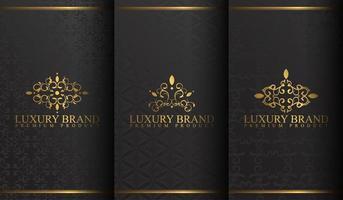 uppsättning lyxiga svart och guld logotypdesign