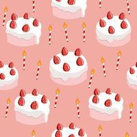 söta jordgubbar födelsedagstårta sömlösa mönster vektor
