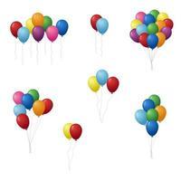 färgglada födelsedagsballonger set vektor