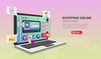 Online-Shopping-Vorlage für Laptop-App vektor