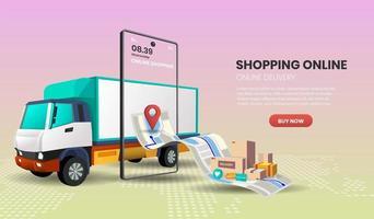 online-leveransservicekoncept med lastbil och smartphone