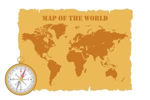 vintage karta över världen och kompass vektor