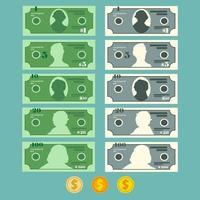 sedeluppsättning för valutadollar