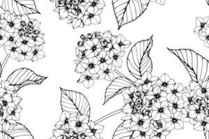 Handgezeichnetes botanisches nahtloses Muster der Hortensie vektor
