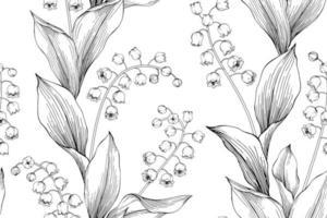 Liljekonvalj handritade botaniska sömlösa mönster vektor