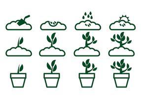 Växa upp Plant Icon Vector 2