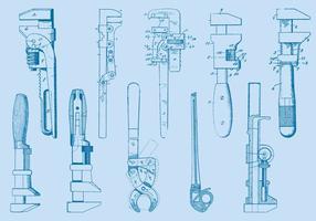 Schraubenschlüssel Werkzeug Zeichnungen vektor
