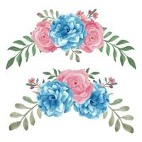 Aquarell blau rosa handgemalte Rose gebogenes Set vektor