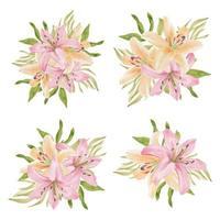akvarell lilja tropiska blommor samling