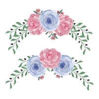 Aquarell gebogenes Rosenpfingstrosenblumenset