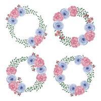akvarell blå och röd blommig cirkel ramuppsättning