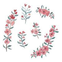 uppsättning akvarell körsbärsröd blomma vårblomma uppsättning