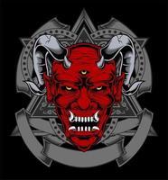 röd demon ansikte med horn och tre ögon vektor