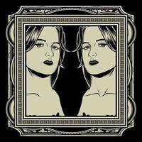 tvillingflickor i utsmyckad ram vektor