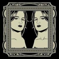 Zwillingsmädchen im verzierten Rahmen vektor