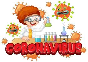 pojke som experimenterar på coronavirus i vetenskapslaboratorium vektor