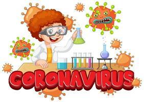 Junge experimentiert mit Coronavirus im Wissenschaftslabor vektor
