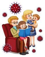 Lesen von Familienmitgliedern im Haus mit Viruszellen vektor