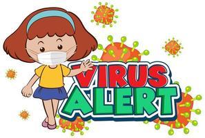 virus varning design med tjej i ansiktsmask vektor