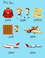 Wörter, die mit Buchstabe p Bildungskarte beginnen vektor