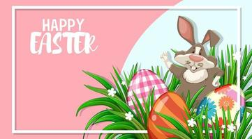 Osterentwurf mit Kaninchen und gemalten Eiern im Rahmen vektor