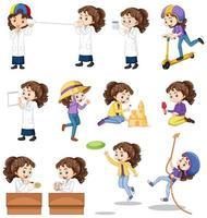 uppsättning flickor som gör olika aktiviteter