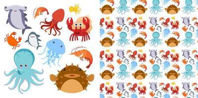 havet varelser uppsättning och sömlösa mönster vektor