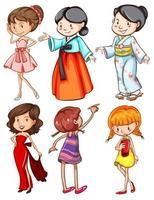 Mädchen im Cartoon-Stil in unterschiedlicher Kleidung vektor