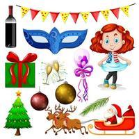 Satz von Weihnachtsgegenständen und Menschen